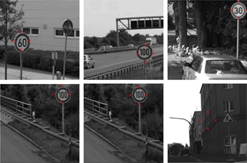 Convolutional network distinguished key points on road signs