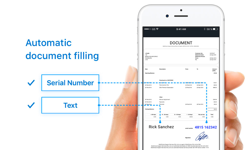 Document recognition and automatic document filling