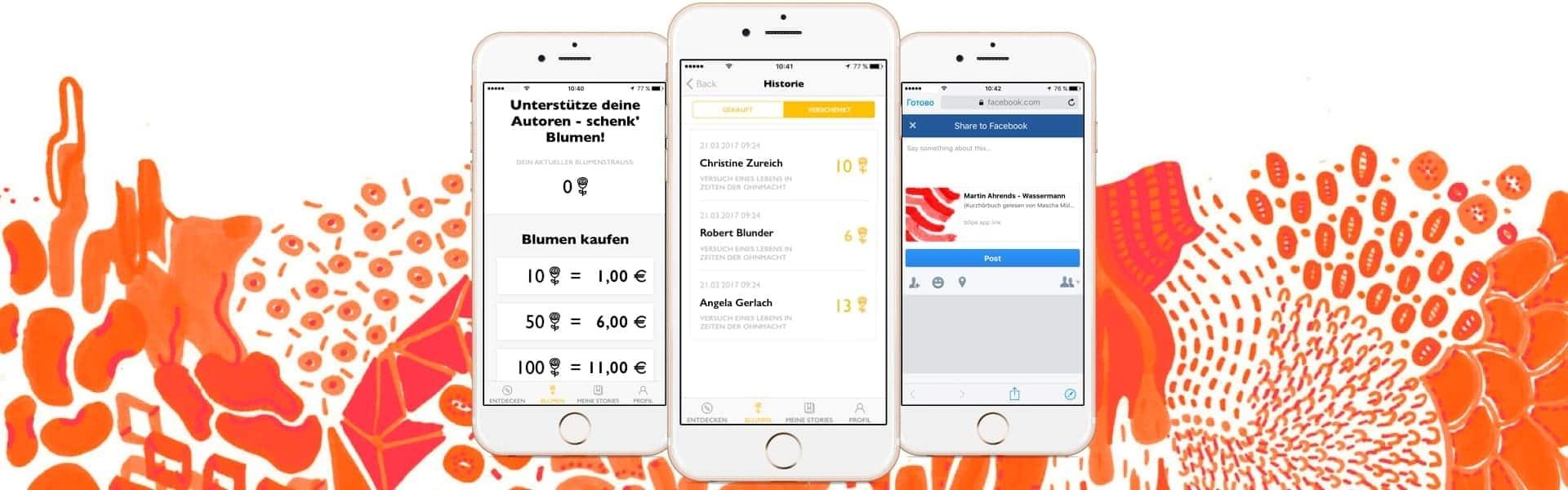 3 screens of an app