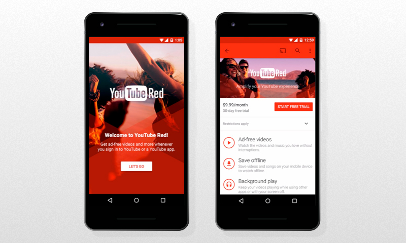 Freemium Mobile App: YouTube Red sign up screen and free trial