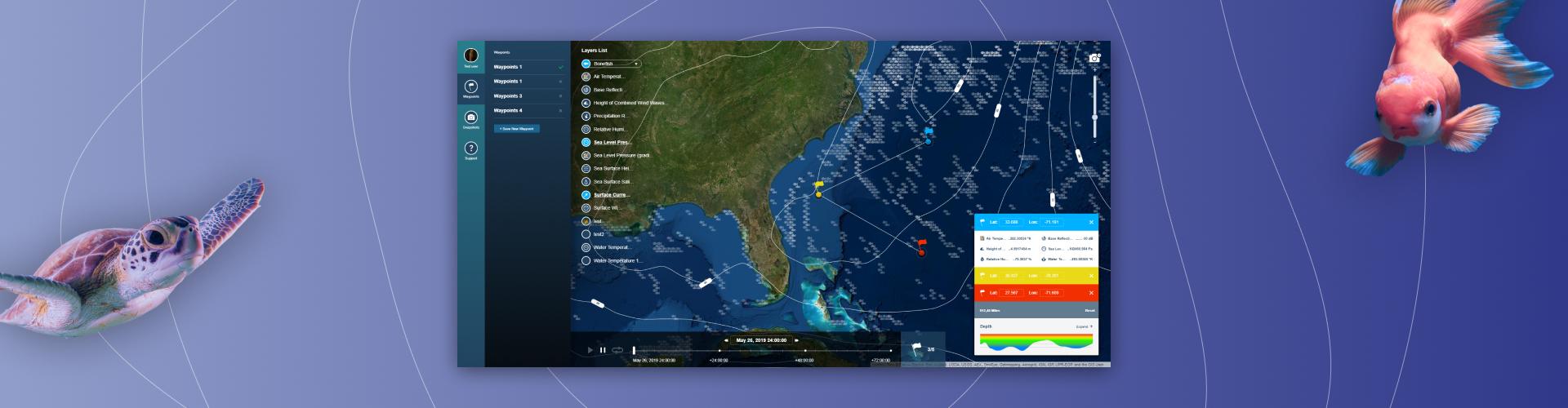Interactive ocean map web app
