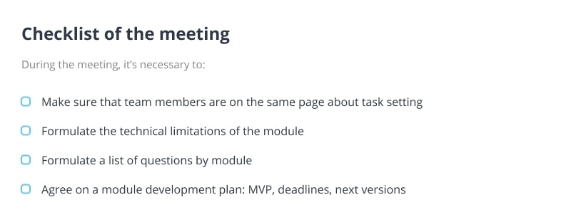 SRS document - checklist of the meeting